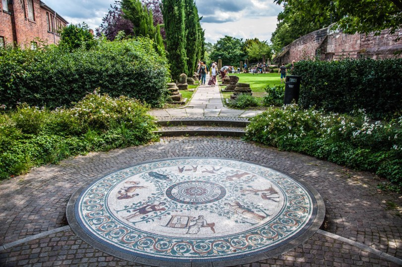 The Roman Gardens with the adjacent Roman walls - Chester, Cheshire, England - rossiwrites.com