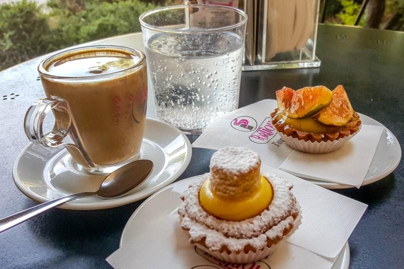 Caffe crema with Italian pasticceria mignon - Vicenza, Veneto, Italy - rossiwrites.com
