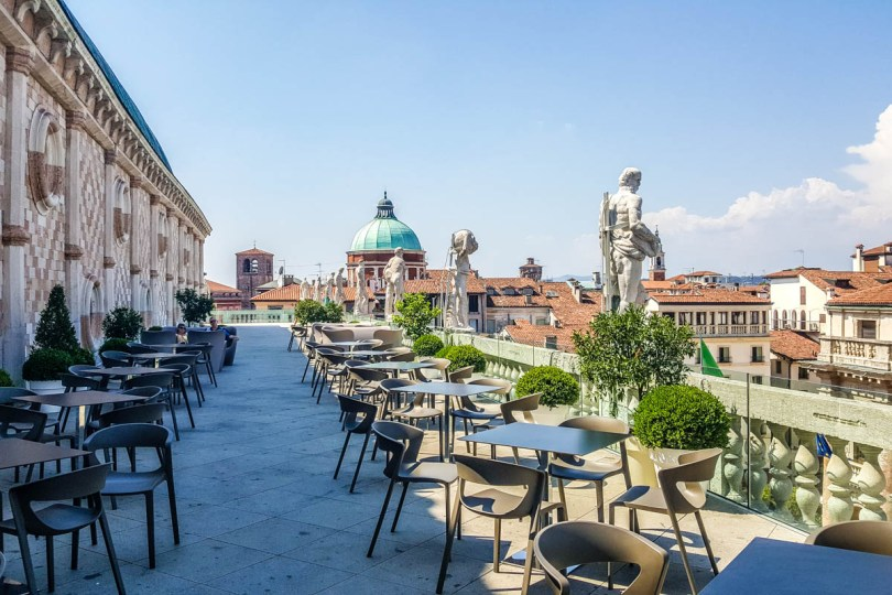 Caffe on the terrace, Basilica Palladiana - Vicenza, Veneto, Italy - rossiwrites.com