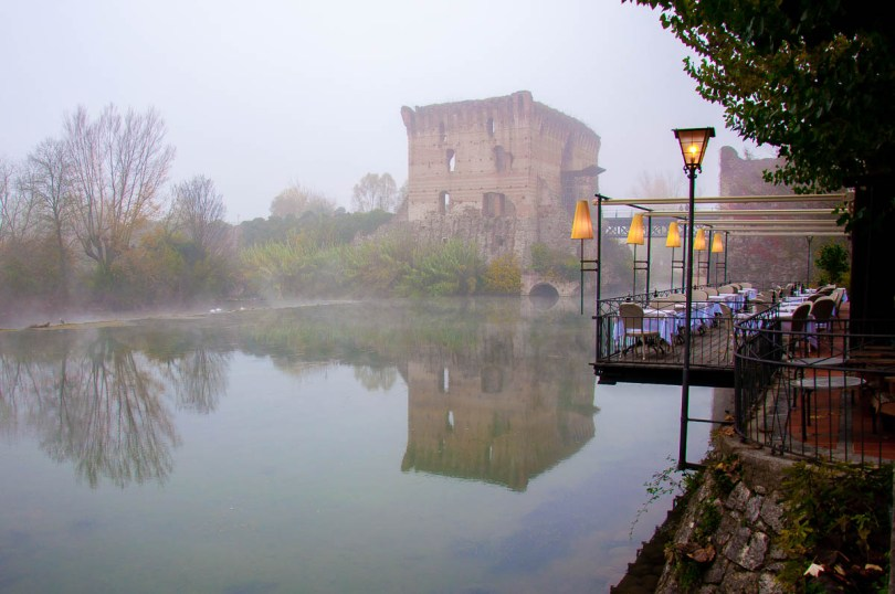 The 14th century Visconti bridge in the fog - Borghetto sul Minchio, Veneto, Italy - rossiwrites.com