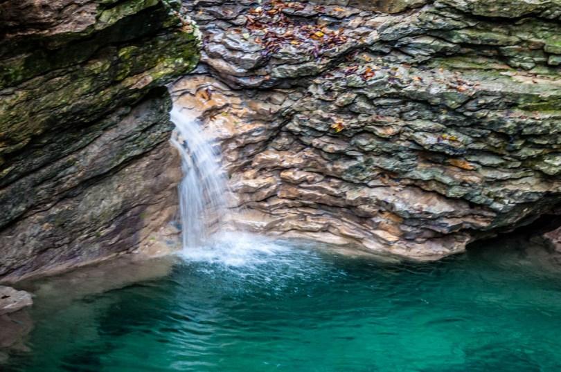 The waterfall's pond - Grotta Azzurra di Mel - Hiking in the Dolomites - Veneto, Italy - rossiwrites.com