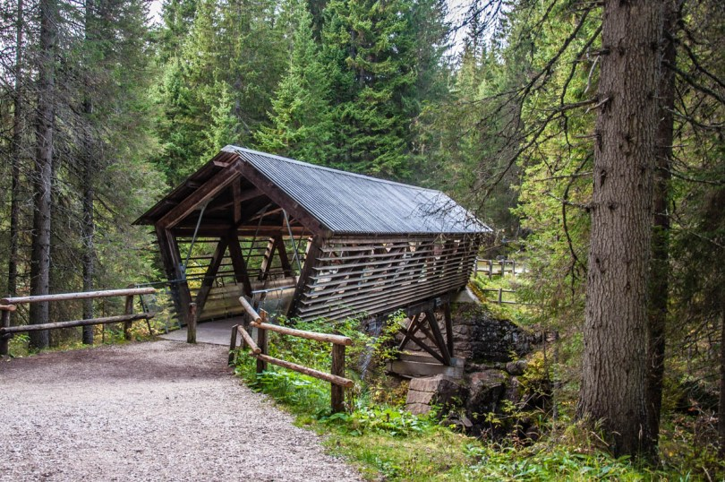 The wooden bridge over the Travignolo stream in Paneveggio - The Violins' Forest - Dolomites, Trentino, Italy - rossiwrites.com