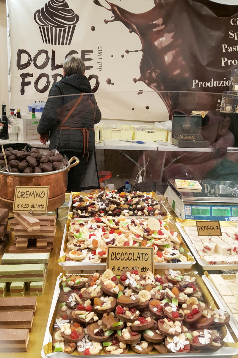 A stall selling different types of chocolate at the Chocolate Festival - Padua, Veneto, Italy - rossiwrites.com