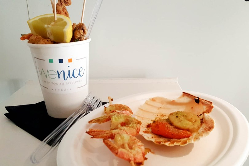 Frito Misto with prawns and a scallop served by WeNice in Venice - - Veneto, Italy - rossiwrites.com