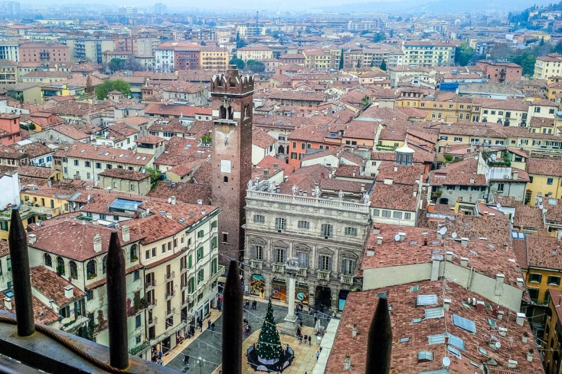 Piazza delle Erbe seen from the top of the Lamberti Tower - Verona, Veneto, Italy - rossiwrites.com