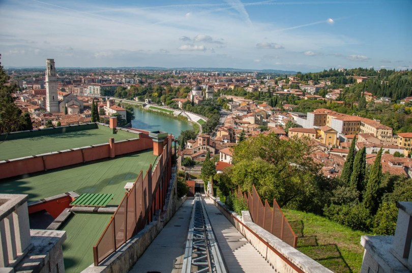 Verona seen from the top of the funicular tracks - Verona, Veneto, Italy - rossiwrites.com