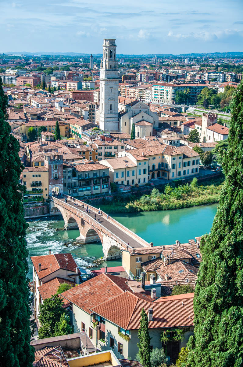 View of Verona with Ponte Pietra - Verona, Veneto, Italy - rossiwrites.com