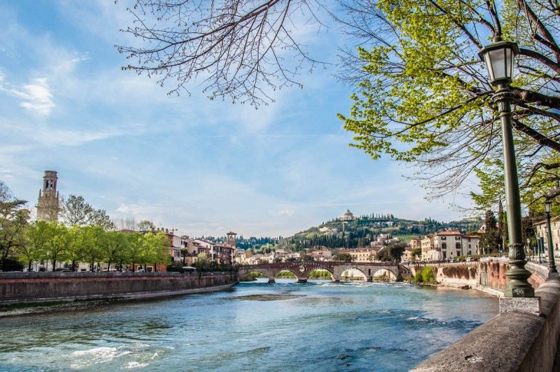 View of the river Adige with Ponte Pietra - Verona, Veneto, Italy - rossiwrites.com