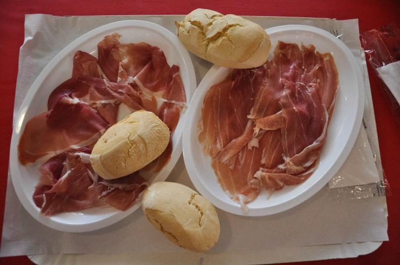Plates with sliced prosciutto - Montagnana, Veneto, Italy - rossiwrites.com