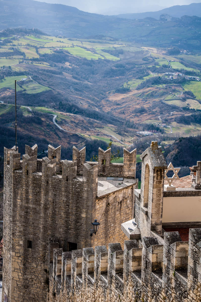 The fortifications with the green rolling hills - San Marino - rossiwrites.com