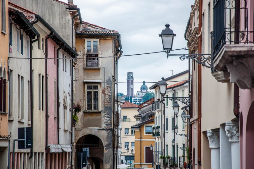 Monte Berico seen from a city street - Vicenza, Italy - rossiwrites.com