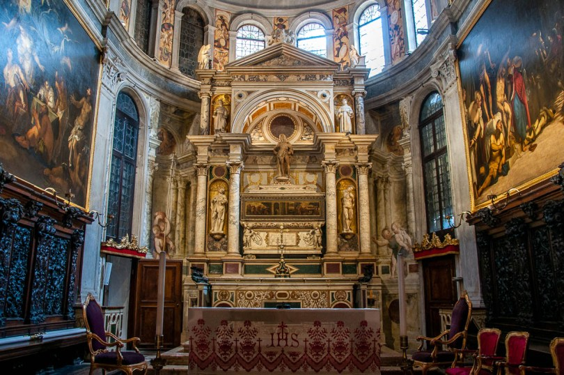 The altar of the Church of San Rocco - Venice, Italy - rossiwrites.com