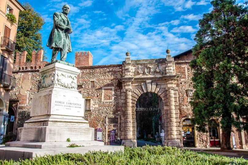 The monument of F. Lampertico next to the Teatro Olimpico - Vicenza, Italy - rossiwrites.com