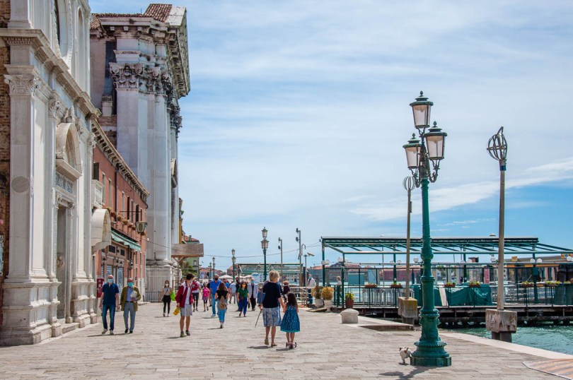 People walking along the Fondamenta delle Zattere - Venice, Italy - rossiwrites.com