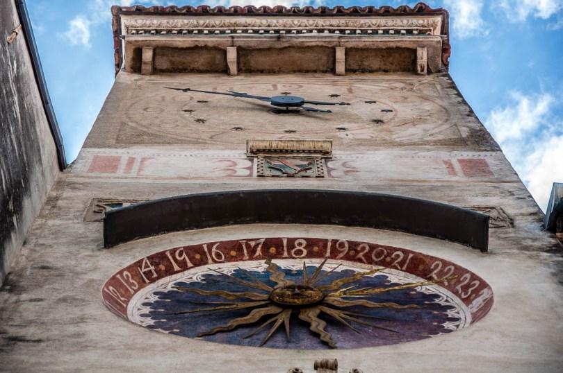 The civic tower with two clock dials - Piazza Flaminio - Serravale (Vittorio Veneto) - Veneto, Italy - rossiwrites.com