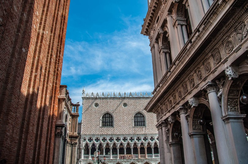 The Doge's Palace seen between the St. Mark's Bell Tower and the Marciana Library - Venice - Veneto, Italy - rossiwrites.com