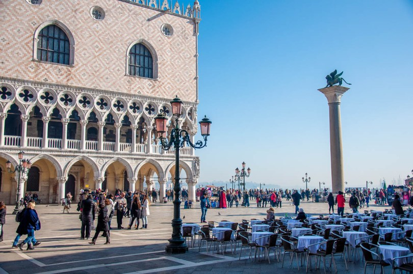 The Doge's Palace with the pillar of the Venetian Lion - St. Mark's Square - Venice, Italy - rossiwrites.com