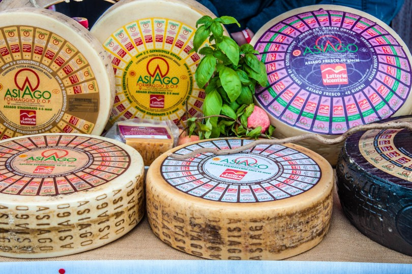 Different varieties of Asiago cheese - Bressanvido, Veneto, Italy - rossiwrites.com