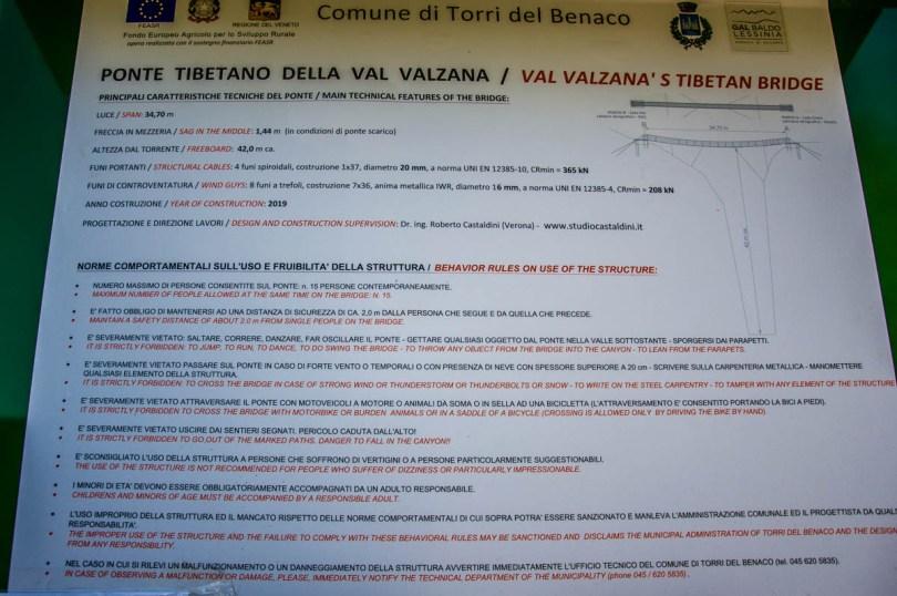 Rules for crossing the Tibetan bridge - Torri del Benaco, Lake Garda, Veneto, Italy - rossiwrites.com