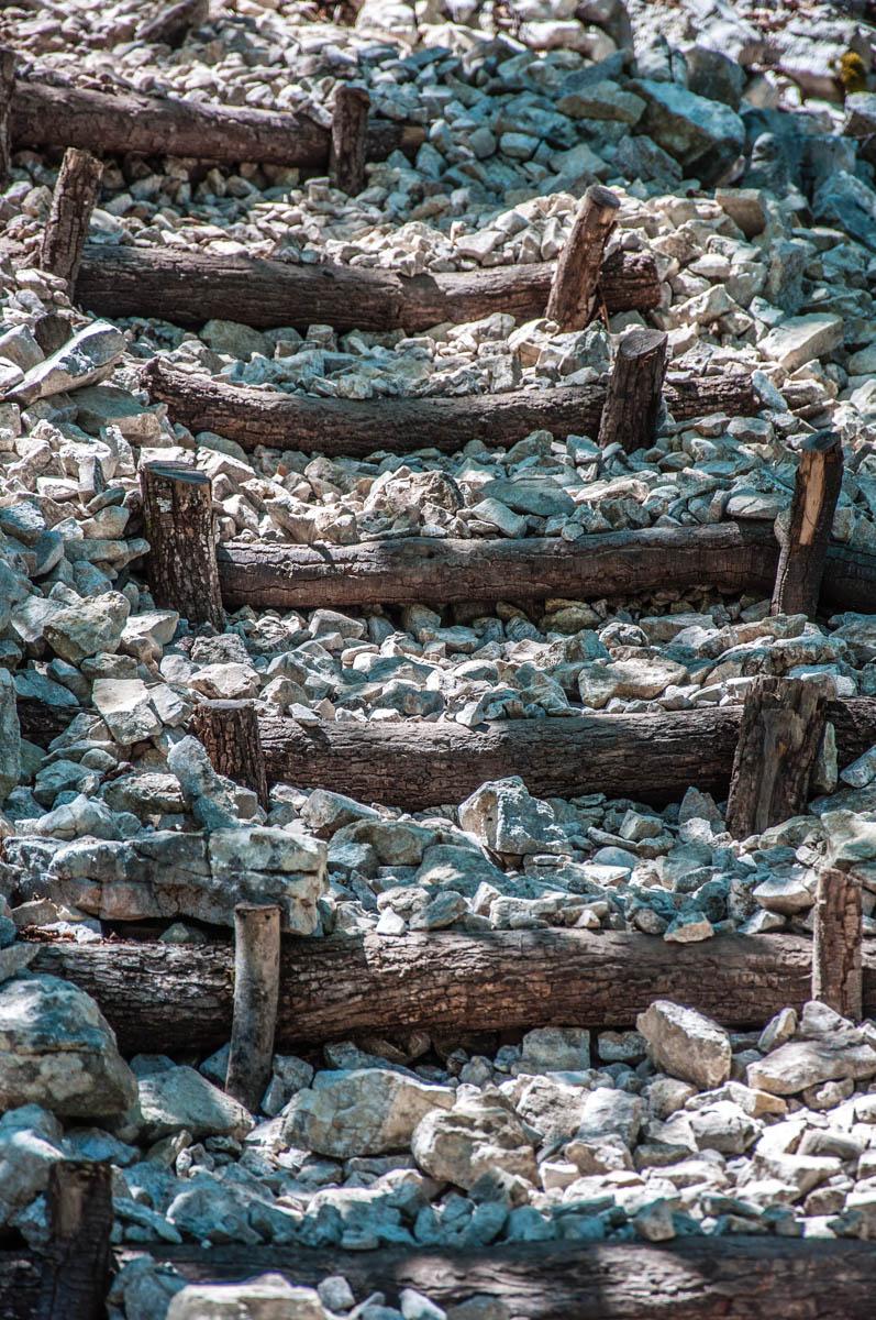 The pebble steps leading to the Tibetan Bridge - Crero, Lake Garda, Veneto, Italy - rossiwrites.com
