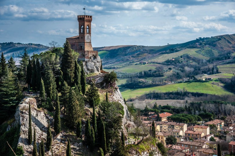 The village and the clock tower seen from the fortress - Brisighella, Province of Ravenna - Emilia-Romagna, Italy - rossiwrites.com
