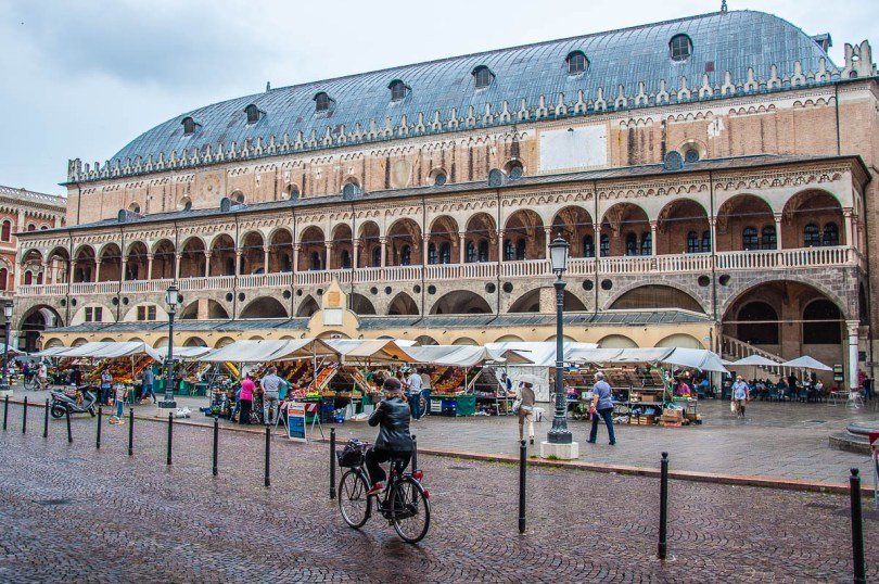 A lady on a bike passing in front of Palazzo della Ragione and the market at Piazza delle Erbe - Padua, Veneto, Italy - rossiwrites.com