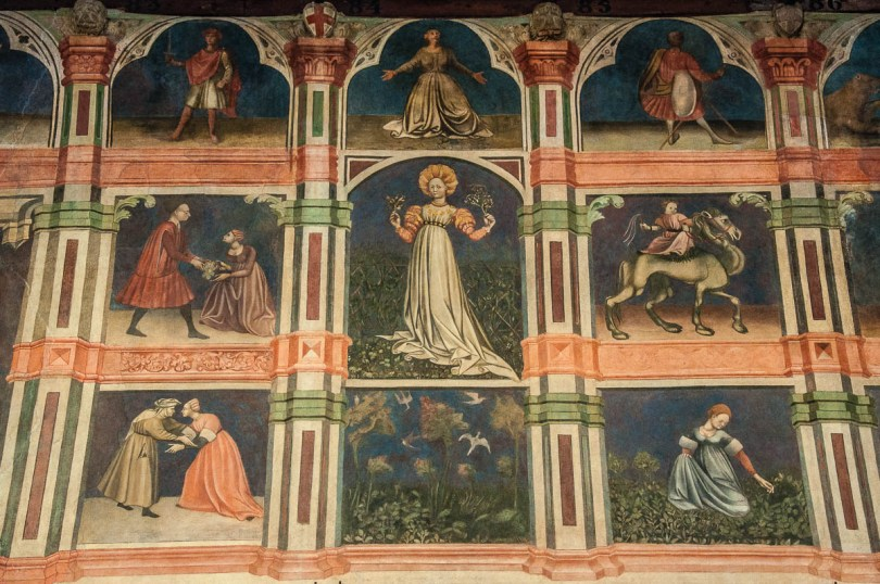 Close-up of the frescoes of the Great Hall of Palazzo della Ragione - Padua, Veneto, Italy - rossiwrites.com