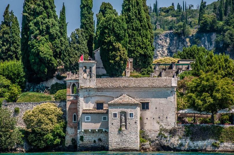 Church di San Vigilio seen from the water - Lake Garda, Italy - rossiwrites.com