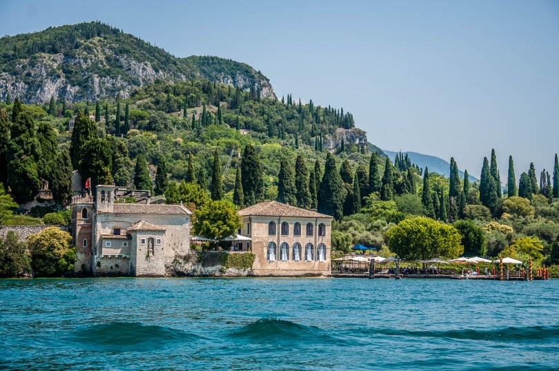 Punta di San Vigilio seen from the water - Lake Garda, Italy - rossiwrites.com