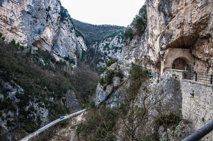 The Frasassi Gorge seen from the Temple of Valadier - Frasassi Caves, Italy - rossiwrites.com