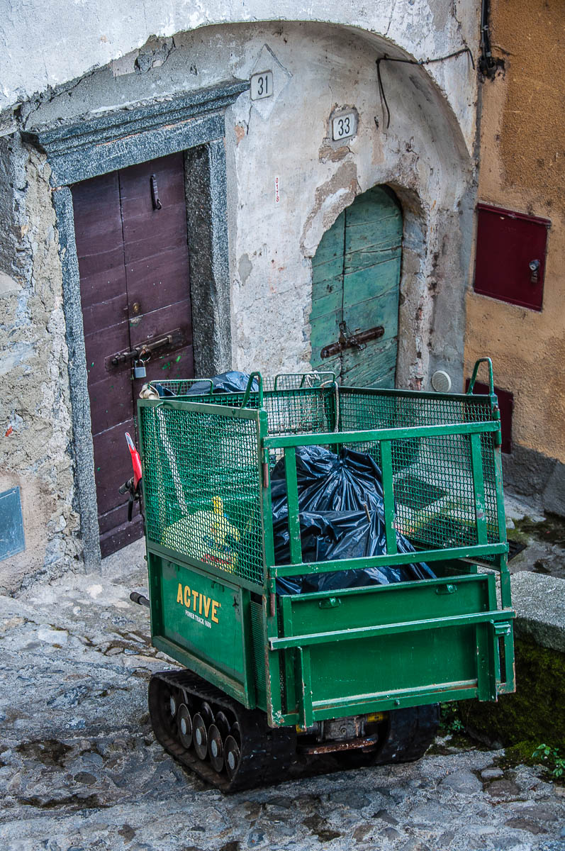 The rubbish collecting vehicle on a flight of steps - Nesso, Lake Como, Italy - rossiwrites.com