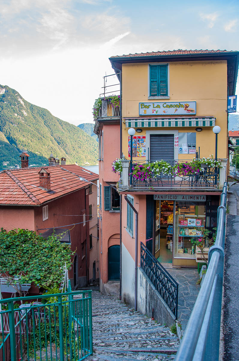 View of the village with the main lakeside road and the steep steps - Nesso, Lake Como, Italy - rossiwrites.com