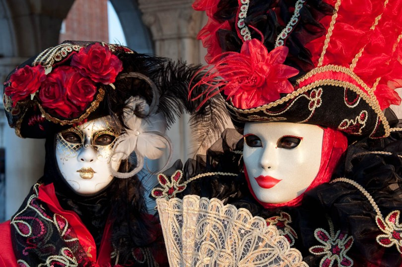Two masks in red and black at Venice Carnival 2011 - Venice, Italy - rossiwrites.com