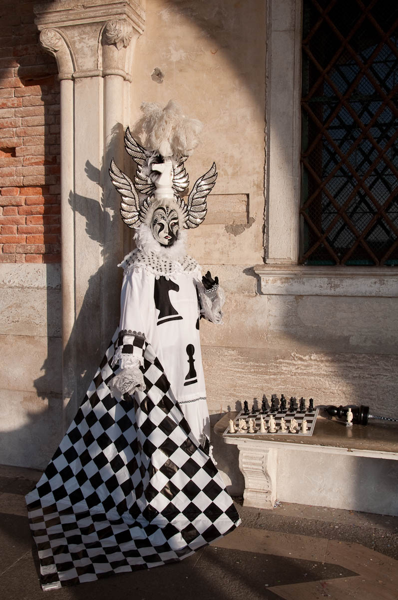A chess mask at Venice Carnival 2011 - Venice, Italy - rossiwrites.com