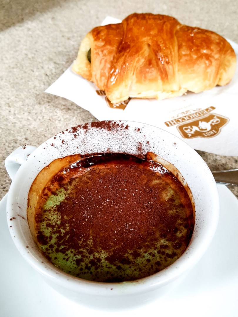 A Pedrocchi coffee served with a pastry - Caffe Pedrocchi - Padua, Italy - rossiwrites.com