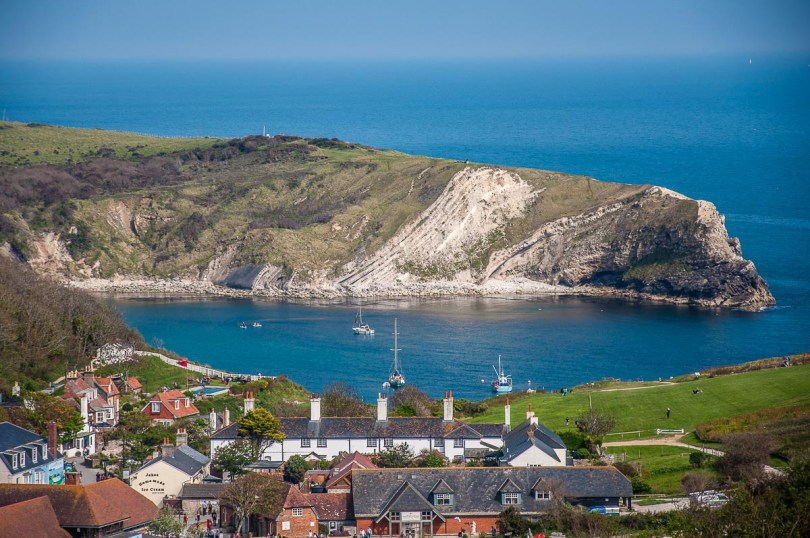 View from the coastal path of Lulworth Cove on the Jurassic Coast - Dorset, England - rossiwrites.com