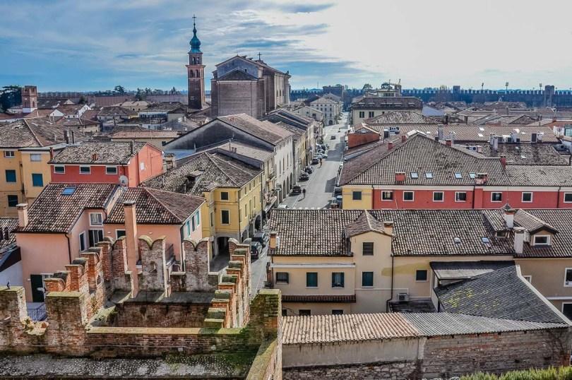 The historic centre seen from the top of Porta Bassano - Cittadella, Italy - rossiwrites.com
