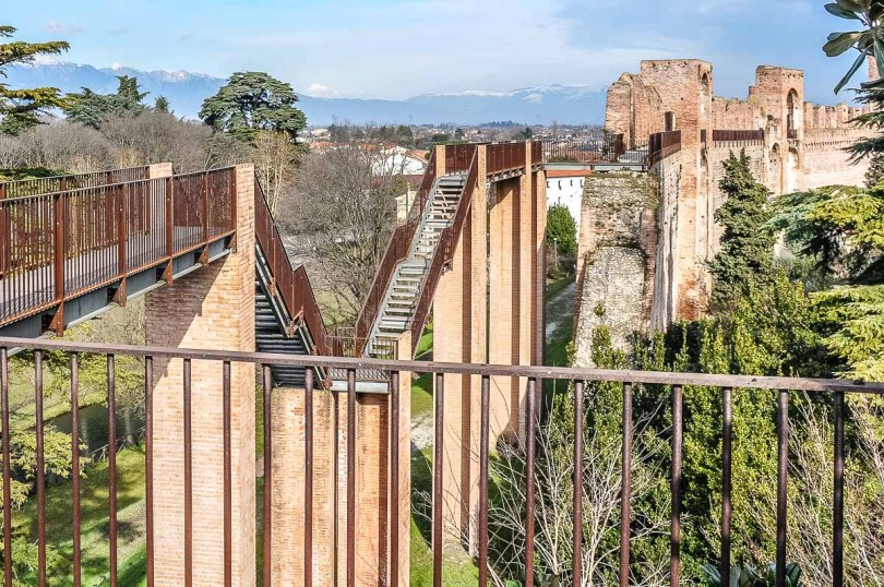 The staircase in the missing portion of the defensive wall - Cittadella, Italy - rossiwrites.com