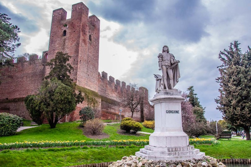 The monument of Giorgione and the defensive walls of the town of Castelfranco Veneto - Veneto, Italy - rossiwrites.com