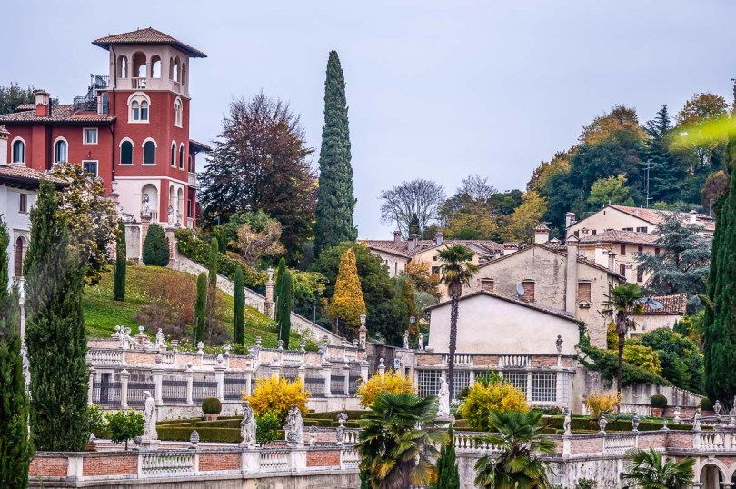 View of the beautiful houses of the town of Asolo - Veneto, Italy - rossiwrites.com