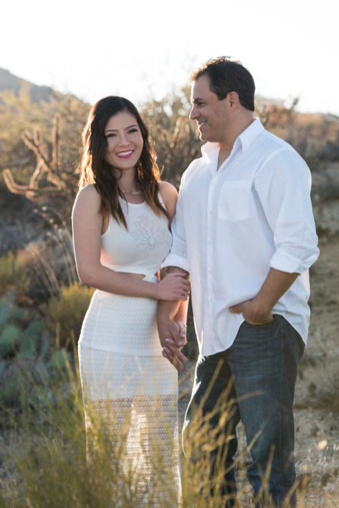 cactus desert engagement photo