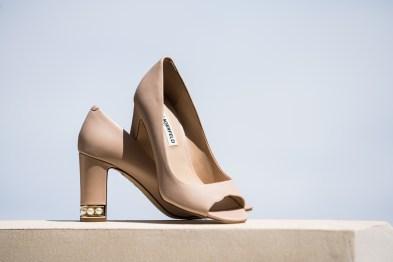 detail shot bridal shoes