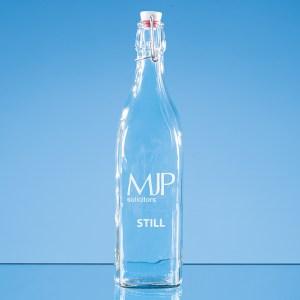 1ltr Square White Cap Swing Top Bottle