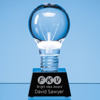6.5cm Dia Optical Crystal Lightbulb Award Mounted on an Onyx Black Crystal Base