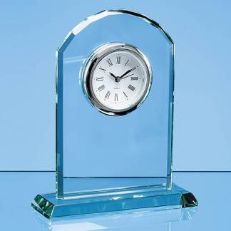 17cm Jade Glass Arch Clock