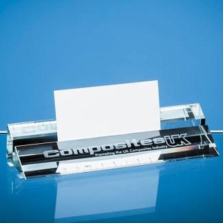 15cm Clear Glass Ruler & Business Card Holder
