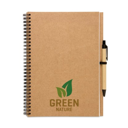 Large recycled notebook and biodegradable pen