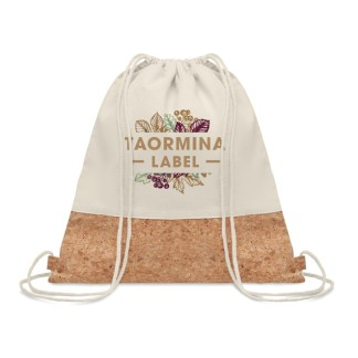 Drawstring bag with cork detail