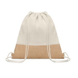 Drawstring bag with jute detail