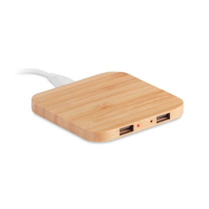 Bamboo wireless charger USB hub
